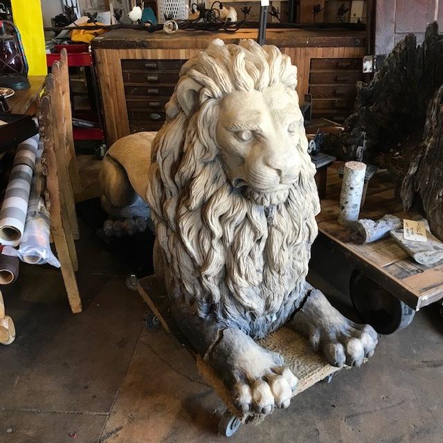 Concrete Lion Bench