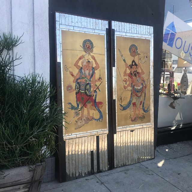Pair of Large Chinese Mirrored Framed Panels